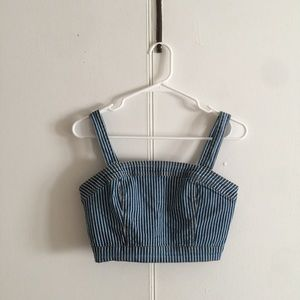 NWT Forever 21 Vertical Striped Cropped Denim Top